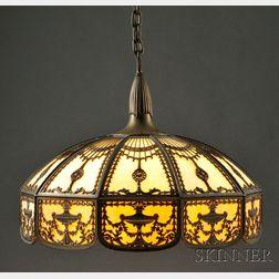 Bradley & Hubbard Metal Overlay Hanging Lamp