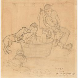 Norman Rockwell (American, 1894-1978)      Study for Me and My Pal: The Bath