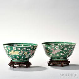 Pair of Famille Verte Bowls