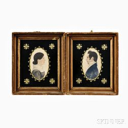 Rufus Porter (Connecticut/Massachusetts, 1792-1884)      Pair of Profile Portrait Miniatures of a Husband and Wife