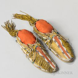 Southern Cheyenne Beaded and Painted Man's Moccasins