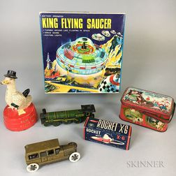 Six Lithographed and Painted Tin and Iron Toys