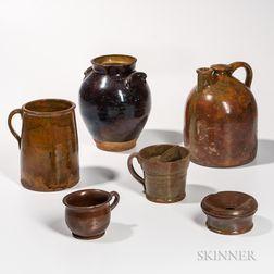 Six Glazed Vermont Redware Vessels
