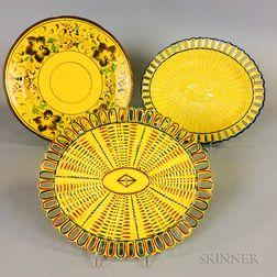 Three Staffordshire Yellow-glazed Ceramic Dishes