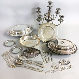 Group of Assorted Sterling Silver and Silver-plated Tableware and Flatware
