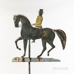 Molded Copper Formal Horse and Rider Weathervane