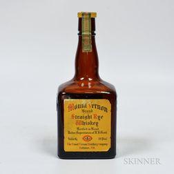 Mount Vernon Straight Rye Whiskey 1935, 1 4/5 quart bottle