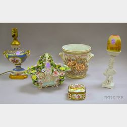 Five European Decorated Porcelain Table Items