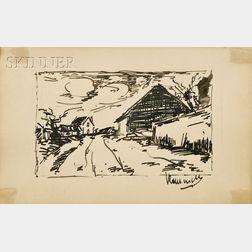 Maurice de Vlaminck  (French, 1876-1958)      Village Street View