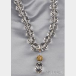 Large Rock Crystal Bead Pendant Necklace