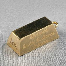 18kt Gold Ingot Pendant, Cartier