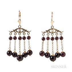 Gold and Garnet Earrings