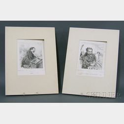 Lot of Five Caricature Lithographs:      Honore Daumier (French, 1808-1879), Un Debut Galant.