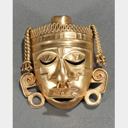 Mexican Silver-gilt Mask-form Brooch
