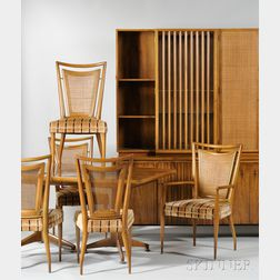 Seven-piece John Widdicomb Co. Walnut and Caned Dining Set