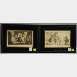 Thomas Rowlandson (British, 1756-1827)      Two Framed Etchings: Doctor Syntax Sells Grizzle