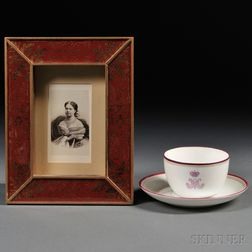 Russian Imperial Porcelain Factory Cup and Saucer with Maria Alexandrovna's   Cipher and Her Carte-de-visite