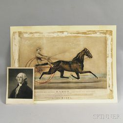Photomechanical Currier & Ives Print and an Engraving of George Washington