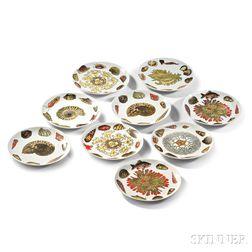 """Nine Fornasetti """"Conchiglie"""" Pattern Dinner Plates"""