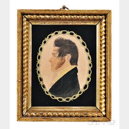 Rufus Porter (Connecticut/Massachusetts, 1792-1884)      Profile Portrait Miniature of a Gentleman