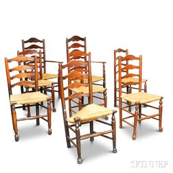 Set of Eight Oak Ladder-back Chairs