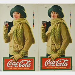 Pair of Large Coca Cola Advertisement Letterpressed Press Sheets