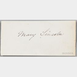 Lincoln, Mary Todd (1818-1882) Signature.