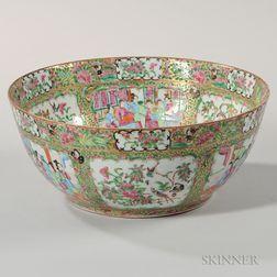 Export Porcelain Rose Medallion Punch Bowl