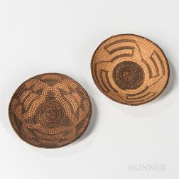 Two Miniature Southwest Coiled Basketry Trays