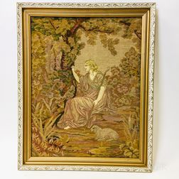 Framed Needlepoint Tapestry of a Shepherdess