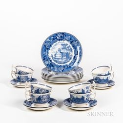 Set of Eight Wedgwood Blue and White Transfer-decorated Colby Junior College Plates, Cups, and Saucers.     Estimate $20-200