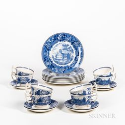 Set of Eight Wedgwood Blue and White Transfer-decorated Colby College Plates, Cups, and Saucers.     Estimate $150-300