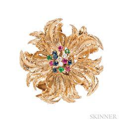 14kt Gold Gem-set Flower Brooch