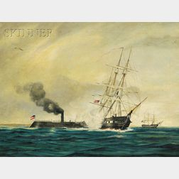 American School, 19th Century      The Merrimac Sinking the Cumberland, March 8th, 1862