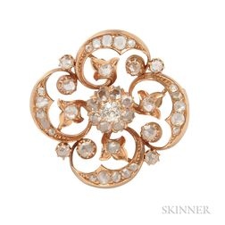Antique Gold and Rose-cut Diamond Brooch