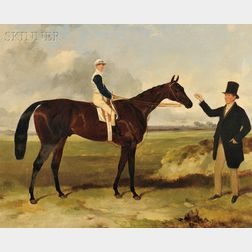 "Attributed to Harry Hall (British, 1814-1882)      Portrait of ""Mounseer""   with Jockey Up"