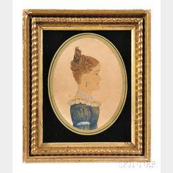 Rufus Porter (Connecticut/Massachusetts, 1792-1884)      Profile Portrait Miniature of a Woman