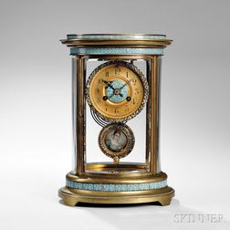 Oval Champleve Brass and Glass Clock