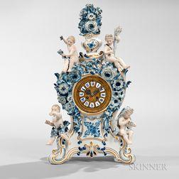 """Meissen """"Blue Onion"""" Pattern Porcelain Clock"""