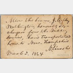 Lincoln, Abraham (1809-1865) Autograph Pass Signed, 5 March 1864.