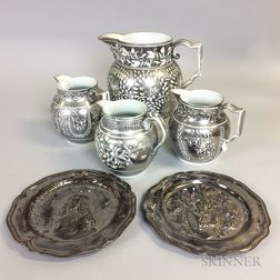 Two Silver Lustre Plates and Four Silver Resist Lustre Jugs