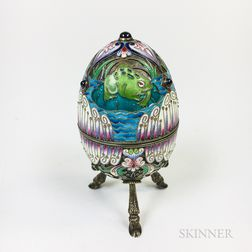 Russian Enameled Silver Egg-form Box