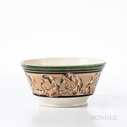 Cable and Slip-decorated Pearlware Bowl
