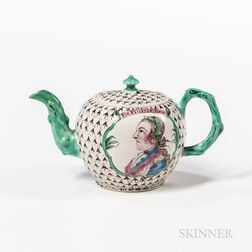 Staffordshire White Salt-glazed Stoneware King of Prussia Teapot and Cover