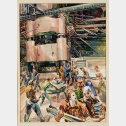 Gladys Kelley Fitch (American, 1896-1971)    Defense Plant, Big Press
