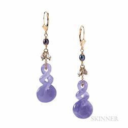 Gold and Lavender Jade Earrings