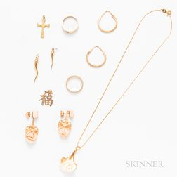 Group of Mostly 14kt Gold and Angelskin Coral Jewelry