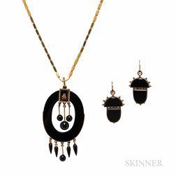 Victorian Gold, Onyx, and Enamel Pendant
