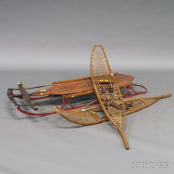 "Flexible Flyer ""Airline Racer"" Sled and Pair CA Lund Snowshoes"