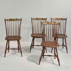 Set of Four Brown-painted Windsor Side Chairs